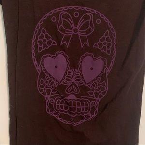 Black & Purple Sugar Skull Sourpuss XL Shirt